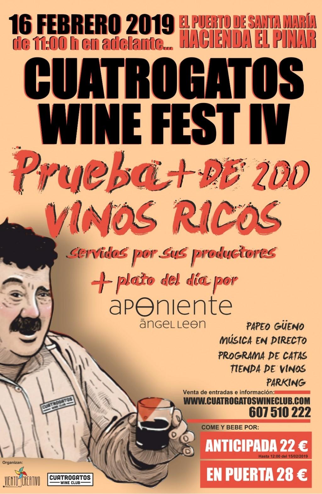 CUATROGATOS WINE FEST  IV · 16 febrero 2019 · El Puerto de Santa María